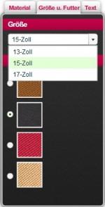 Größenauswahl für unterschiedliche Bildschirmgrößen